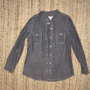 Grey chambray long sleeve button down shirt